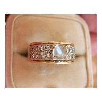 18K Gold Platinum Moonstone Diamond Vintage Ring