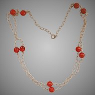 Double Row Sterling Carnelian Bead Vintage Necklace