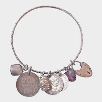Final Markdown! Terrific Victorian Silver Bangle with Seven Antique Charms