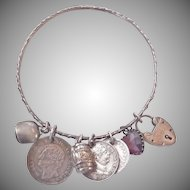 Terrific Victorian Silver Bangle with Seven Antique Charms