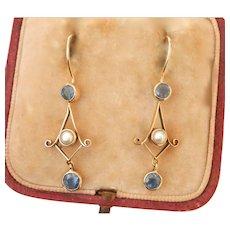 Antique 9K 9CT Gold Sapphire Pearl Drop Earrings
