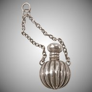Victorian Silver Fluted Perfume Bottle Charm~1876