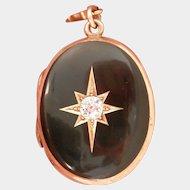 Stunning 14K Gold Enamel 0.53 ct. Diamond Starburst Locket Pendant w/Chain