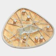 Custom-made 18K Two-Toned Gold Carved Aquamarine Diamond Fishing Basket Pendant/ Pin