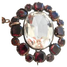 Antique foil-backed Almandine Garnet Rock Crystal Gold Pin