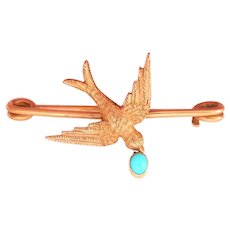 Lovely 18K Gold Antique Bird Swallow Pin w/ Turquoise