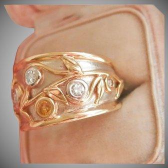 Heavy 14K & 18K Yellow Sapphire Diamond Designer Band Ring