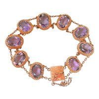 9CT 9K Gold Antique 40.5 ct. Amethyst Bracelet