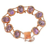 9CT 9K Gold Antique 40.5 ct. Amethyst Bracelet