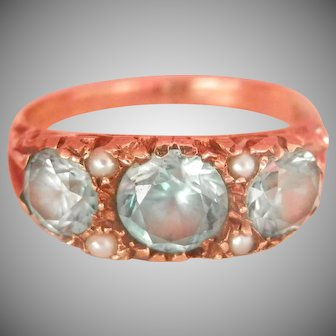 Victorian 9Ct 9K Gold Blue Zircon Pearl Ring