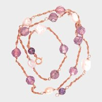 Final markdown! 14K Gold Amethyst River Pearl Vintage Necklace