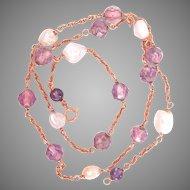14K Gold Amethyst River Pearl Vintage Necklace