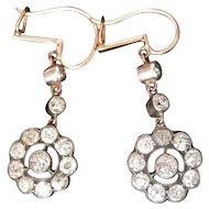Stunning Victorian 2.46 ct. Diamond Silver 14K Gold Drop Earrings