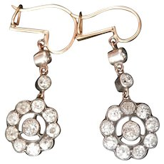 Stunning Victorian 2.46 ct. Diamond Silver 14K Gold Drop Earrings