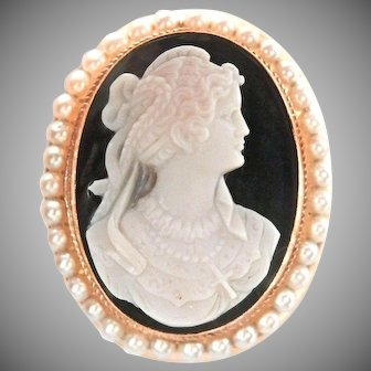 14K Gold Carved Onyx Pearl Cameo Pendant and Pin Brooch