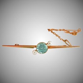 15CT 15K Gold 2.60 Blue Zircon Pearl Vintage Bar Pin Brooch