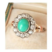 Lovely 14K Gold Silver Turquoise Diamond Cluster Ring