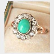 Lovely 14K Gold Silver Turquoise Diamond Cluster Ring