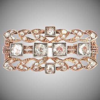 Victorian 14K & Silver 2.18 Ct. Diamond Hand Made Pin Brooch