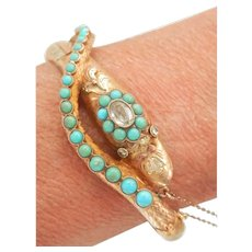Rare Victorian 15K Gold Turquoise, Zircon, Paste Snake Serpent Bracelet w/ Secret Compartment