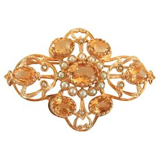 Large 9K 9CT Gold 6.85 ct. Citrine Seed Pearl Vintage Brooch Pin