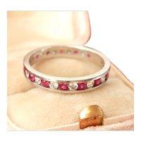 Vintage Ruby Diamond Full Eternity Platinum Band Ring