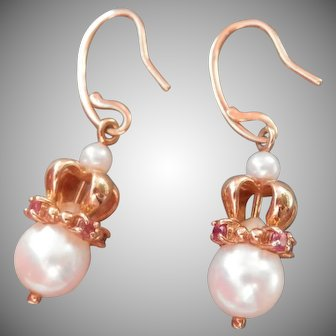 18K Gold Pearl & Red Spinel Drop Earrings