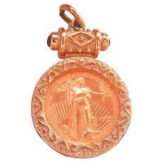 14K & 18K Gold Coin Garnet Pendant