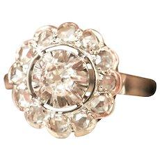Antique French Diamond Cluster Platinum 18K Ring