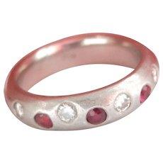 Very Heavy Ruby Diamond Platinum Vintage Band Ring