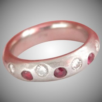 Very Heavy Ruby Diamond Platinum Vintage Band Ring