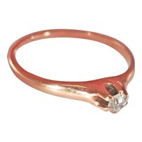 Victorian 14K Rose Gold 0.15 ct. Diamond Solitaire Ring