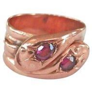 Heavy Edwardian 9K Rose Gold Double-Headed Garnet Snake Ring ~1905