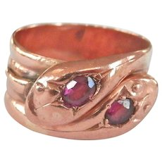 Heavy Edwardian 9K Rose Gold Double-Headed Garnet Snake Ring ~1905