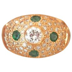 Stunning 22K Gold Emerald 1.30 ct. Diamond Vintage Dome Ring