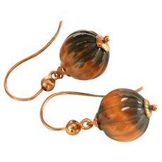 9CT 9K Gold Carved Tiger's Eye Ball Dangle Vintage Earrings