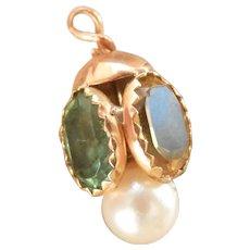 Tiny Victorian 18K Gold Tourmaline, Amethyst, Citrine, Pearl Charm Pendant~Final Markdown!