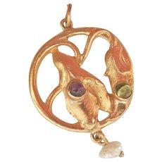 Lovely Art Nouveau 18K Gold Amethyst, Peridot, Pearl Leaf Drop Pendant~Final Markdown!