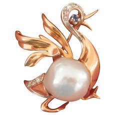 Stunning Designer Heavy 18K Gold South Sea Pearl Sapphire Diamond Bird Pin