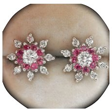 14K White Gold Ruby 0.70ct. Diamond Floral Cluster Vintage Earrings