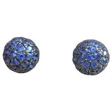 18K White Gold Midnight Blue Sapphire Ball Earrings