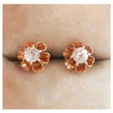 14K Gold Old Mine Cut Diamond Stud Earrings