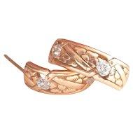 Antique 14K Gold .80 ct. OEC Diamond Hoop Earrings