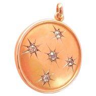 Antique 10K Gold Diamond Starburst Locket Pendant