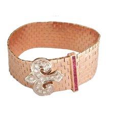 Stunning Heavy 14K Gold Diamond No Heat Ruby Wide Buckle Bracelet