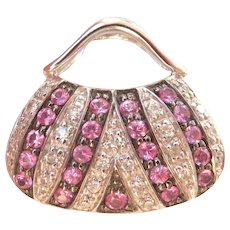 Charming! 14K WG Pink Sapphire Diamond Handbag Purse Slide Pendant