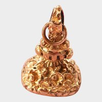 Heavy Victorian 9K Gold Ornate Amethyst-set Fob or Pendant