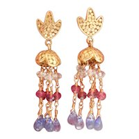 18K Gold Aquamarine, Ruby Tanzanite Dangle Earrings