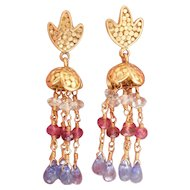 18K Gold Aquamarine, Ruby Tanzanite Dangle Earrings