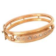 Victorian 9CT 9K Gold Diamond Starburst Hinge Bracelet